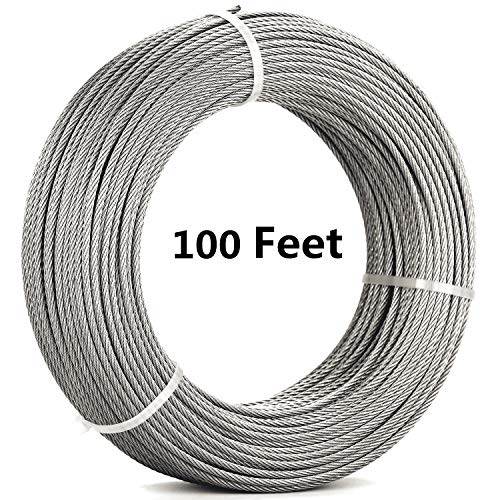 Senmit 1/8 Stainless Steel Aircraft Wire Rope for Deck Cable Railing Kit,7 x 7 100 Feet T 316 Marine - 316 Grade Marine Steel Stainless