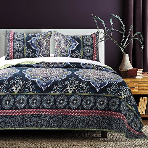 Navy Sage - 3 Piece Navy Blue Medallion Floral Quilt Queen Full Set, Blue Red Sage Flowers Printed Bohemian Border Design, Reversible Billowing Green Filigree Pattern Adults Bedding Master Bedroom, Polyester