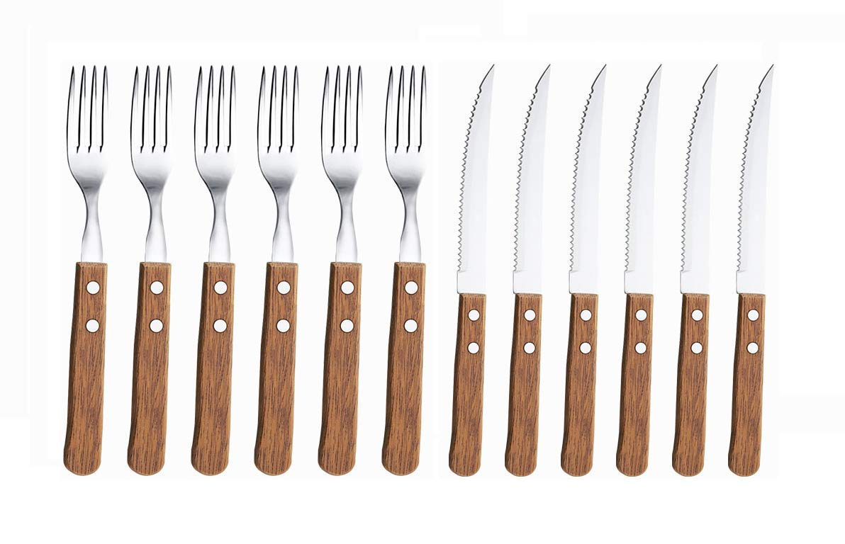KOVOT 12-Piece Wood Handle Steak Knife & fork Set | Includes (6) 8'' Steak Knives + (6) 7.5'' Forks by Kovot
