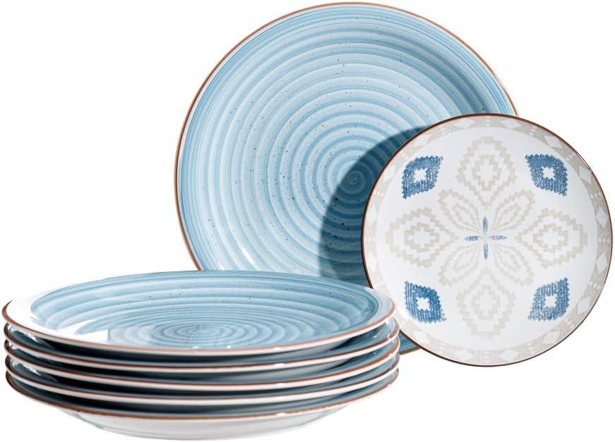 LOLAhome Vajilla completa mosaico azul de porcelana de 18 piezas