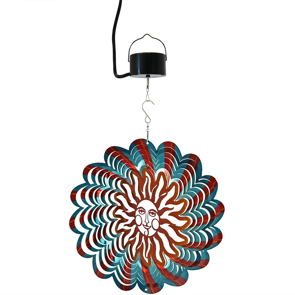 Sunnydaze Reflective 3d Sun Whirligig Wind Spinner – オプション 12 Inch Multi Color Sun オレンジ SHE-638-706 B075NNBZYL With Corded Electric Motor 12 Inch Multi Color Sun