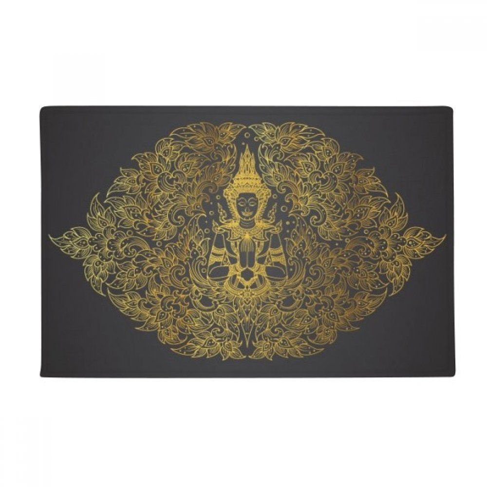 Thai Symmetrical Gold Foil Illustration Anti-slip Floor Mat Carpet Bathroom Living Room Kitchen Door 16''x30''Gift by BeatChong