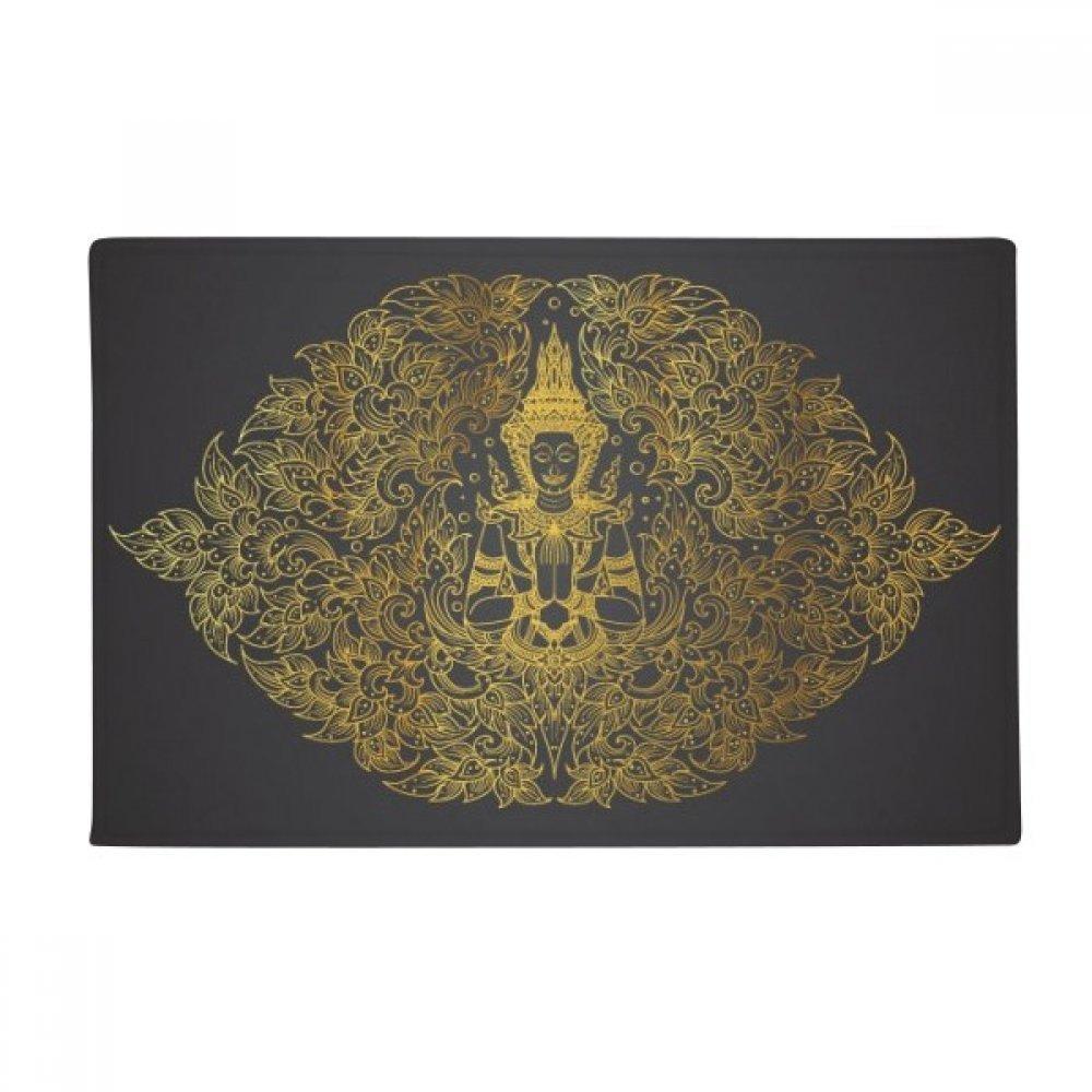 Thai Symmetrical Gold Foil Illustration Anti-slip Floor Mat Carpet Bathroom Living Room Kitchen Door 16''x30''Gift