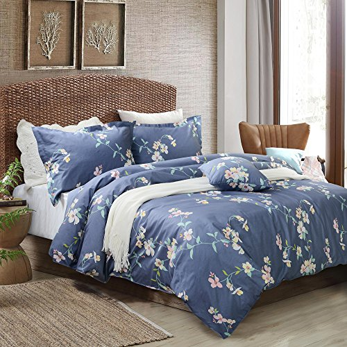 FADFAY Shabby Floral Duvet Cover Set Dusty Navy Blue Cotton Bedding Set With Hidden Zipper Closure 3 Pieces, 1duvet Cover & 2pillowcases (Queen Size, Simple - Blanket Floral Blue Navy