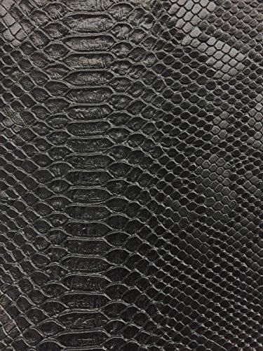 Black Faux Viper Sopythana Snake Skin Vinyl Fabric - Sold By The Yard - 52