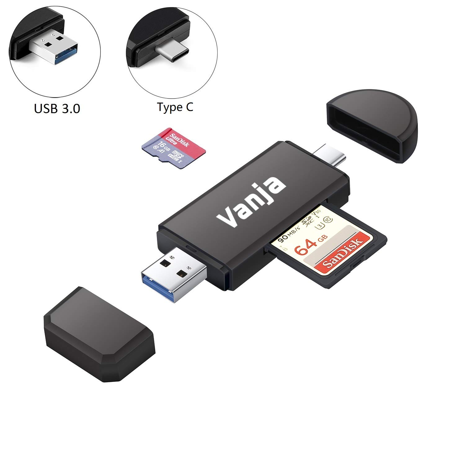Vanja USB Type C SD Card Reader, USB 3.0 Micro SD Card Reader OTG Adapter for TF, SD, Micro SD, SDXC, SDHC, MMC, RS-MMC, Micro SDXC, Micro SDHC, UHS-I for Mac, Windows, Linux, PC, Laptop by Vanja