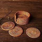 7 cup tea pot - yazi Natural Rattan Cup Coaster Rustic Drink Table Mat Handmade Knit Tea Pot Pad 4