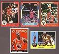 Michael Jordan (5) Card Basketball Reprint Lot Including the 1985 Star Rookie Reprint and 1986 Fleer Rookie Reprint Chicago)