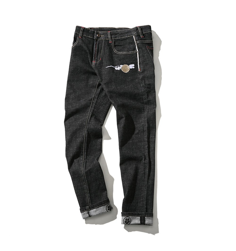 Dufjodi - Jean, Vent d'hiver, blanc Crane, Les Engrais, Stretch Jeans,Photo Couleur,Quarante - Quatre