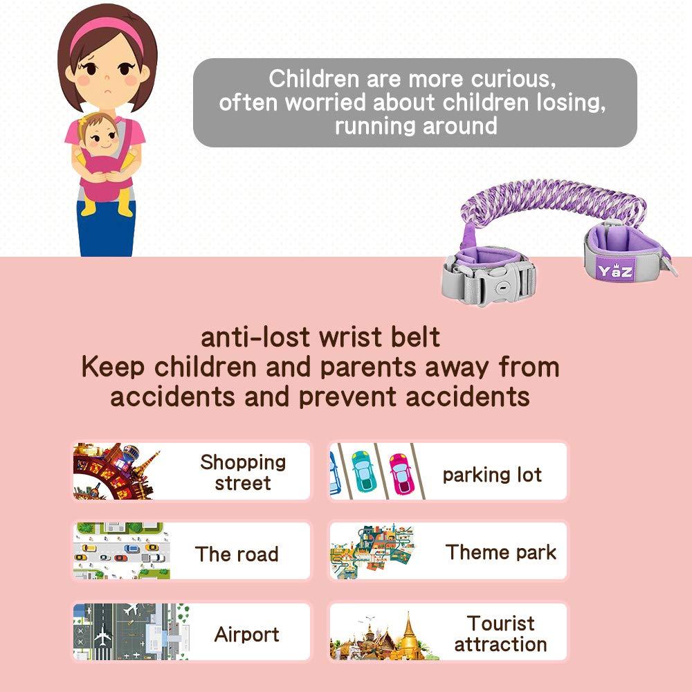 Harnais de s/écurit/é pour enfant,Anti Perdu Laisse Enfant,Verrouillage de S/écurit/é,Fonction de Fluorescence,Rembourrage confortable pour les poignets de votre enfant,Bracelet anti-perte pour b/éb/é 2.5m