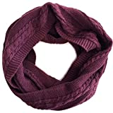 Men's 100% Organic Cotton Cable Knit Infinity Loop Scarf, Classic Soft Stretch Warm Non-Toxic (Plum)