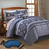 Modern Elegant Luxury Blue Native American Design Bedding Soft Cotton 8 Piece Bed in a Bag Reversible Comforter Set, QUEEN with Sleep Mask