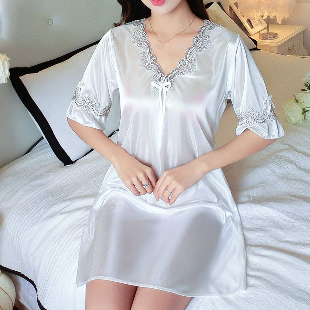 Pervobs Women's Pure Color Short Satin Short Sleeve V-Neck Nightdress Sexy Loose Soft Silk Satin Pajamas Dress Lingerie(Free Size, White) by Pervobs Lingerie & Sleepwear (Image #4)