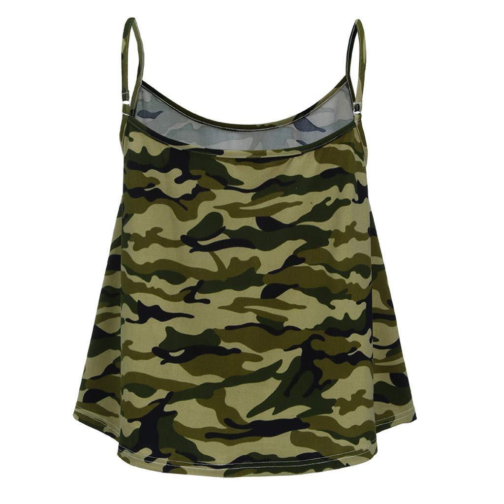 Fashion Womens Tops O-Neck Vest Tank Printed Casual Spaghetti Strap Flowy Hem Sleeveless Camis Blouse (L, Camouflage)
