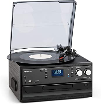 Oferta amazon: aunaOakland Dab Cadena estéreo - Reproductor de vinilos, CD y de Casete , Sintonizador de Radio Dab+/FM , Puerto USB y SD , Bluetooth , Transmisión a 33, 45 y 78 RPM , Mando a Distancia , Negro