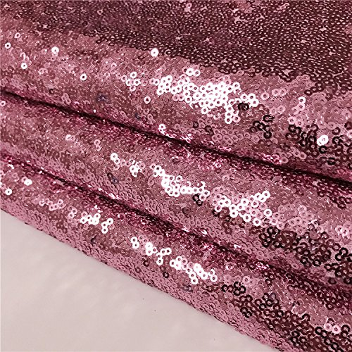 TRLYC Rose Pink Marriage Ceremony Runner Wedding Sequin Aisle Runner--24Inch by 15FT