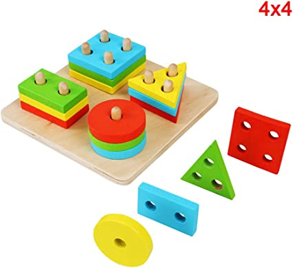 Early Educational Baby Kids Puzzle Wooden Toy Geometric Sorting Board Blocks S