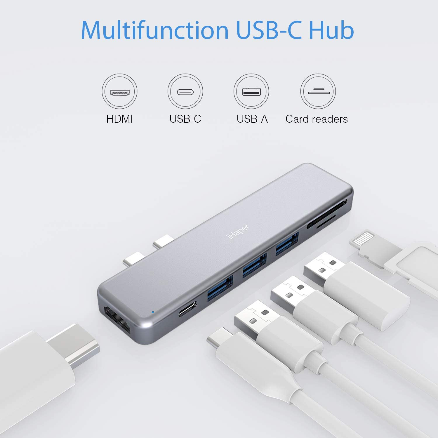 for MacBook Pro 2018//2017//2016 SD//TF Card Reader 100W PD iHaper C001 USB C Hub MacBook Air 2018 3 USB 3.0 7-in-2 Duo Type-C Thunderbolt 3 Adapter with 4K USB C to HDMI