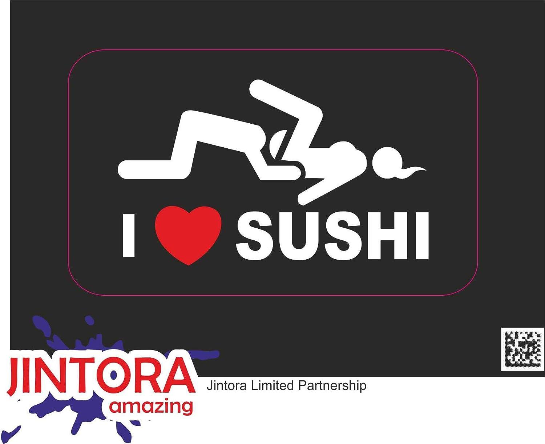 Porte Autocollant en Vinyle imprim/é pour Voiture JINTORA etc Mur I Love Sushi Adult Funny r/éfrig/érateur Moto - 3X 30x18mm classeur v/élo