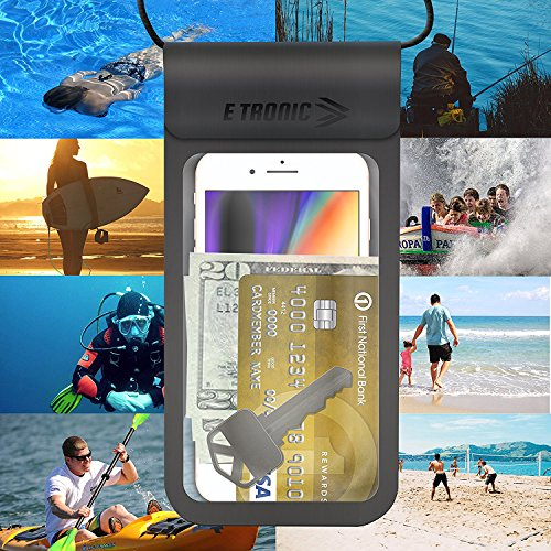 Waterproof Phone Case: Best UNIVERSAL Cellphone Dry Bag Water Proof Pouch. Clear Cover Underwater Cases Holder Bags for All Cell Phones. iPhone Plus X 8 7 6 6S & Galaxy S9 S8 S7 S6 & Google Pixel etc by E Tronic Edge (Image #3)