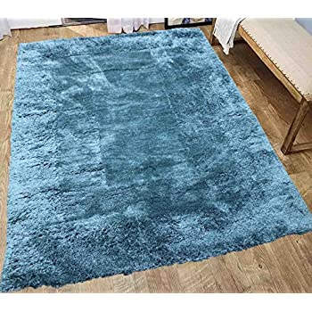 dark green teal shaggy shag area rug 5x7 high end designer quality feather flokati. Black Bedroom Furniture Sets. Home Design Ideas