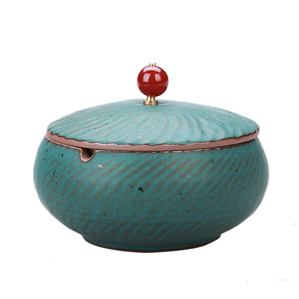 ZYM-ASC aschenbecher mit deckel, Keramik Aschenbecher mit einer Abdeckung Retro Persönlichkeit kreative Geschenk Zigarre Rauch und Rauch eine kleine Couchtisch Hause Dekoration