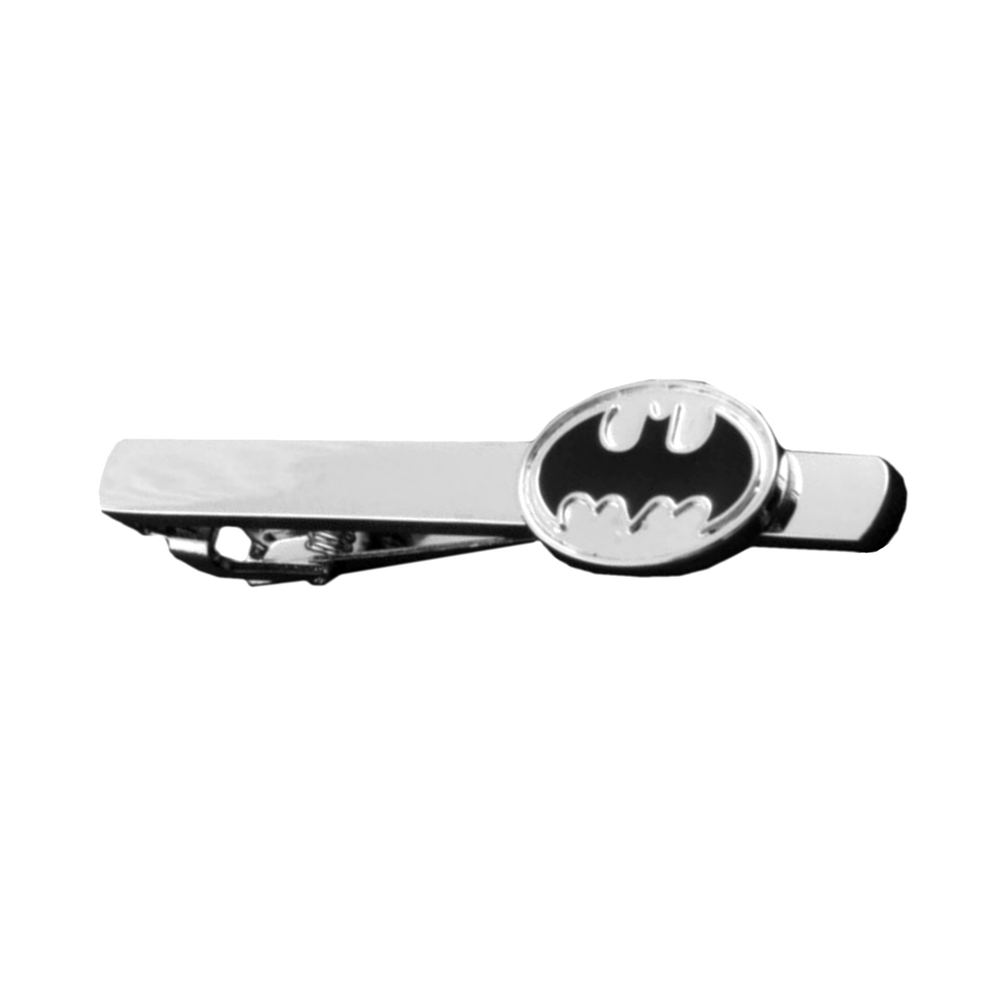 DC Comics - Batman Silver Black Oval - Tiebar Tie Clasp Wedding Superhero Logo w/Gift Box