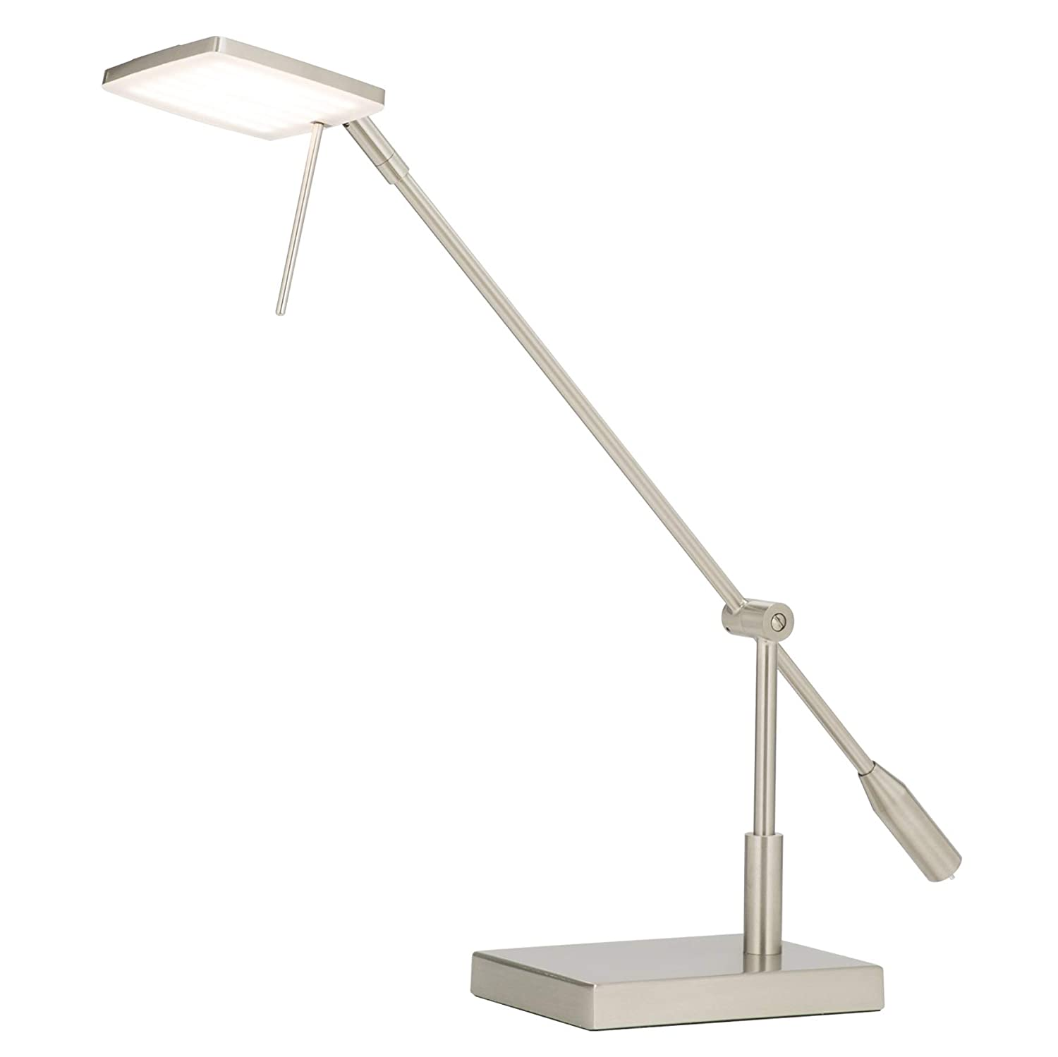 CO-Z Dimmable Brushed Nickel LED Desk Lamp with Adjustable Head, LED Task Light for Office Working Home Bedroom School Study Writing Computer Lighting, Pharmacy-Style Inspired Modern Metal Desk Lamp