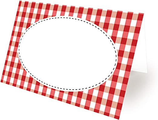 Paper Red Gingham BBQ Labels