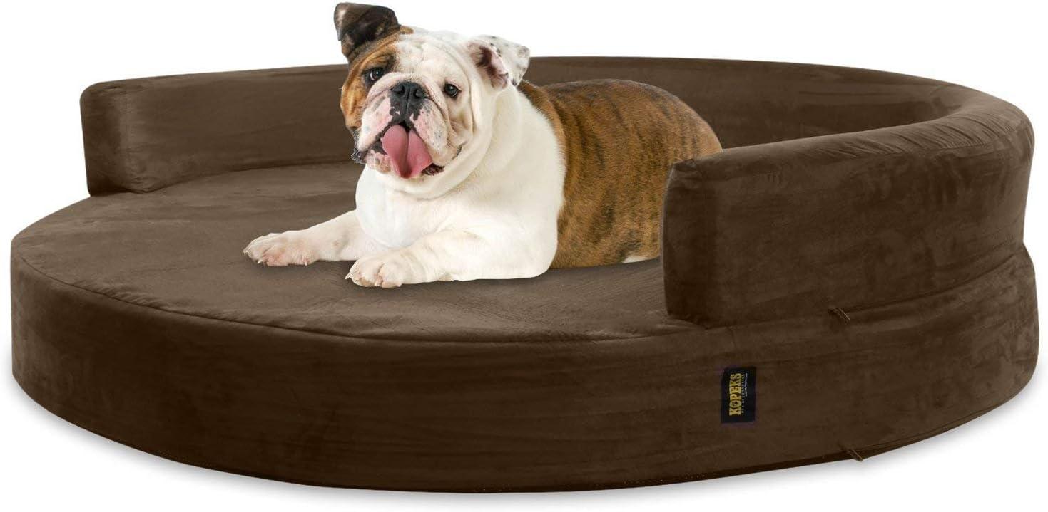 KOPEKS Sofa Redondo Cama Marrón para Perro Perros Mascotas Tamaño Grande con Memoria Viscoelástica Colchón Ortopédico 90 cm Diámetro - Round Lounge L Brown