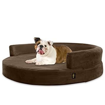 KOPEKS Sofa Redondo Cama Marrón para Perro Perros Mascotas Tamaño Grande con Memoria Viscoelástica Colchón Ortopédico 90 cm Diámetro - Round Lounge L Brown: ...