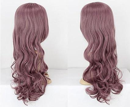 Dosige Menta morada Corea del pelo largo y rizado Peluca De mujeres Cabello Cosplay Disfraz Peluca