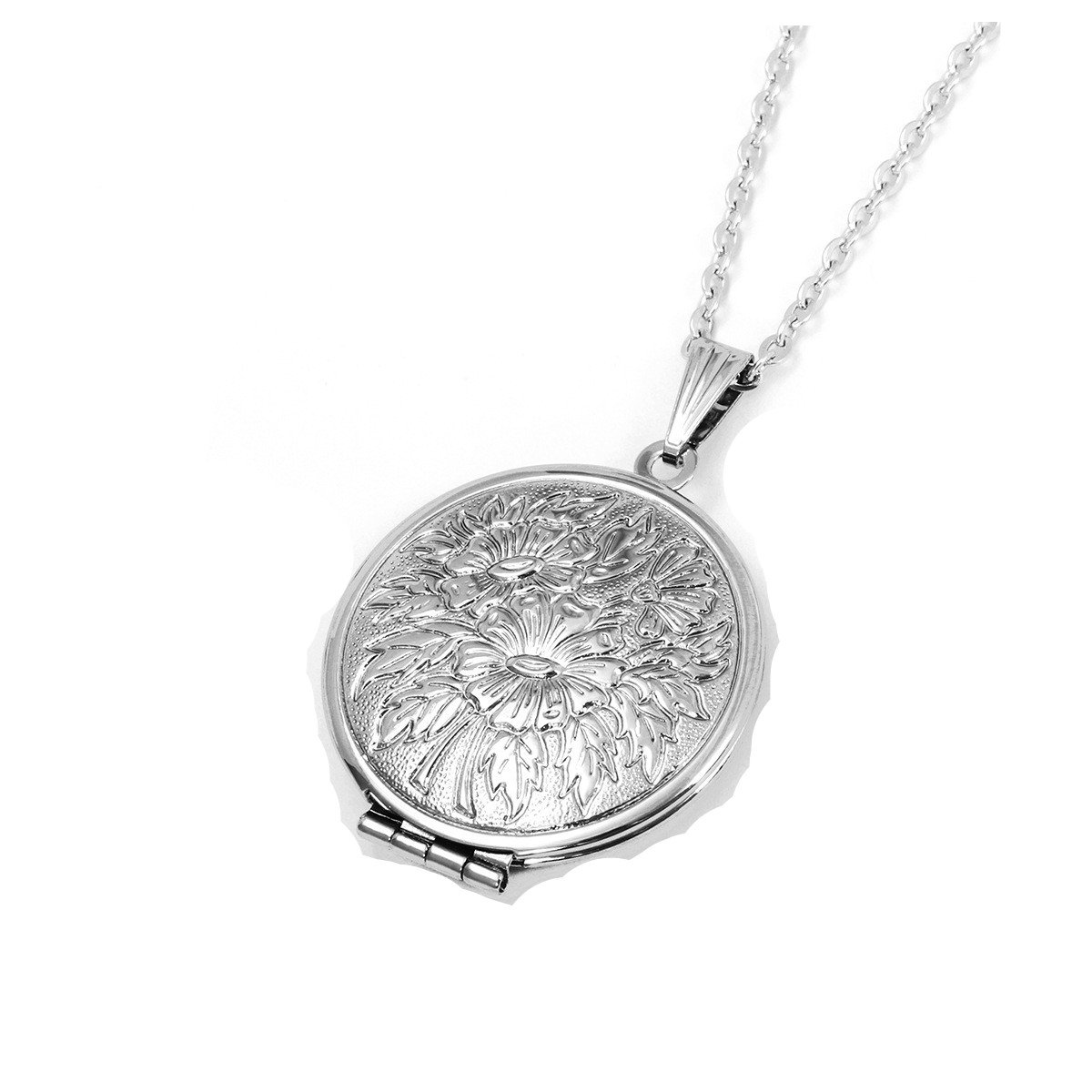 Dazzle flash Titanium Steel Heart Locket Necklace That Holds Pictures NGG245 (Flowers)