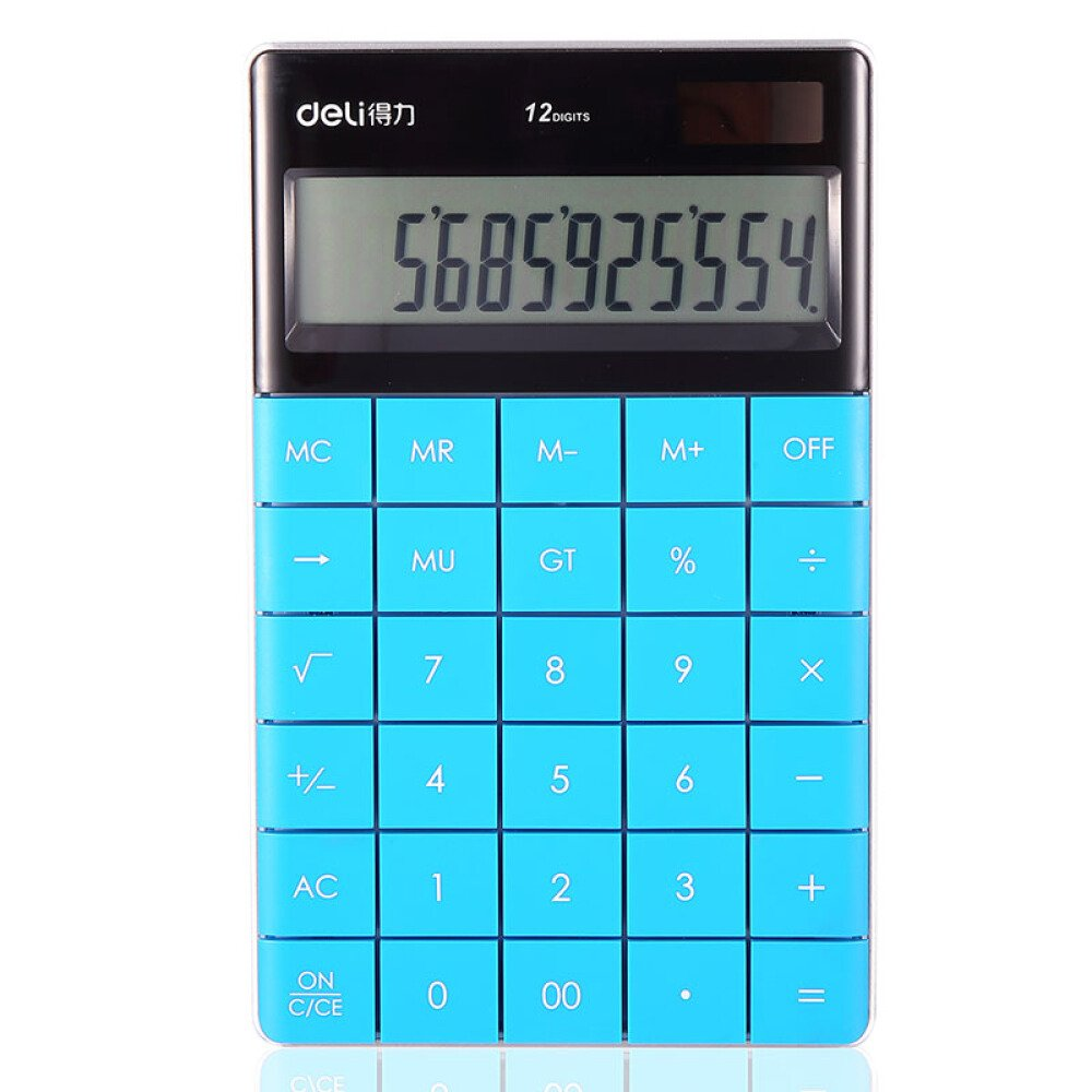 Electronic Desktop Calculator with 12-digit Large Display, Solar and button battery Dual Power Standard 12-Digit Big Display Handheld Function Desktop Calculator (Red 2) - Click Image to Close