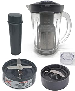 Joystar 48oz Larger cup replacement parts soymilk picther attachement &Juicer Attachment with extractor blade and flat milling blade,compatible with Nutri Bullet Original 600series &Pro 900 series