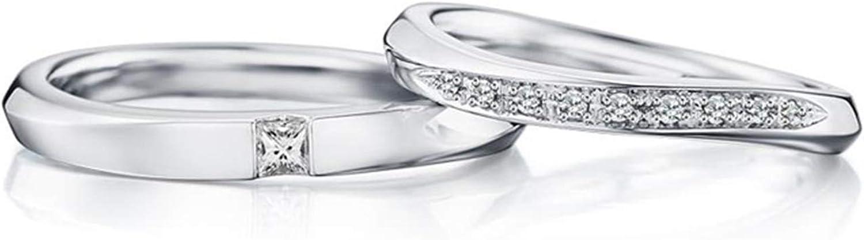Epinki Anillo Oro Blanco 18k Retorcido Diamante 0.10ct & 0.09ct Anillo de Mujer de Compromiso