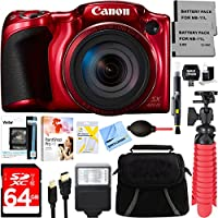 Canon PowerShot SX420 IS 20MP 42x Optical Zoom Digital Camera (Red) + Two-Pack NB-11L Spare Batteries + Accessory Bundle