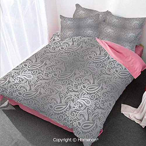 - Homenon Silver Girl's Room Cover Set King Size,Traditional Paisley Pattern Old Fashioned Royal Floral Ornam,Decorative 3 Piece Bedding Set with 2 Pillow Shams Dimgray Silver