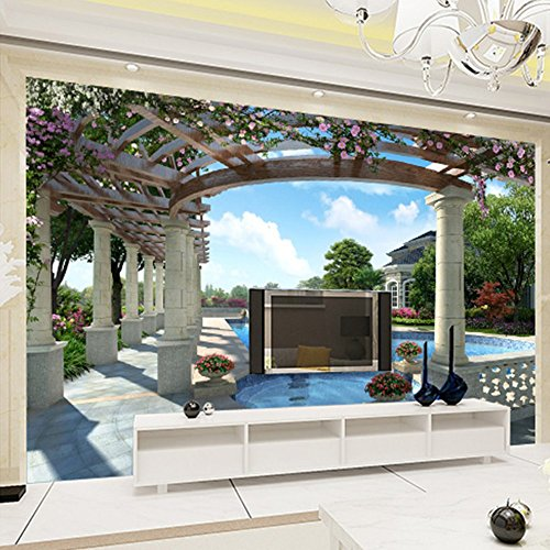 Colomac Wall Mural Modern Luxury Villa Swimming Pool Garden Mural Suitable for Living Room Home Decor Bedroom Study Sofa TV Background Wallpaper 78.8 Inch x 59 Inch by colomac (Image #3)