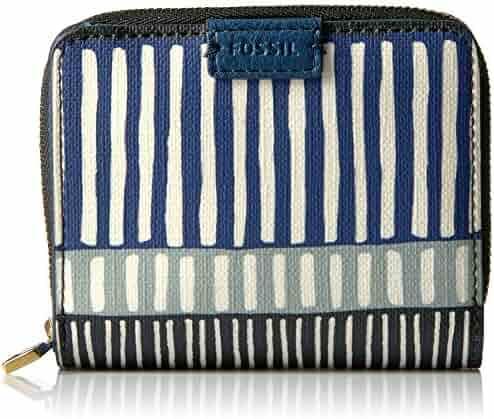Fossil Emma Rfid Mini Multifunction-navy Stripe Wallet