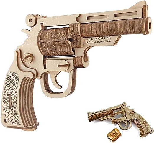 GreenLF 3D Wooden Puzzle, DIY Jigsaw Brain Teaser Toys of Revolver Gun Model