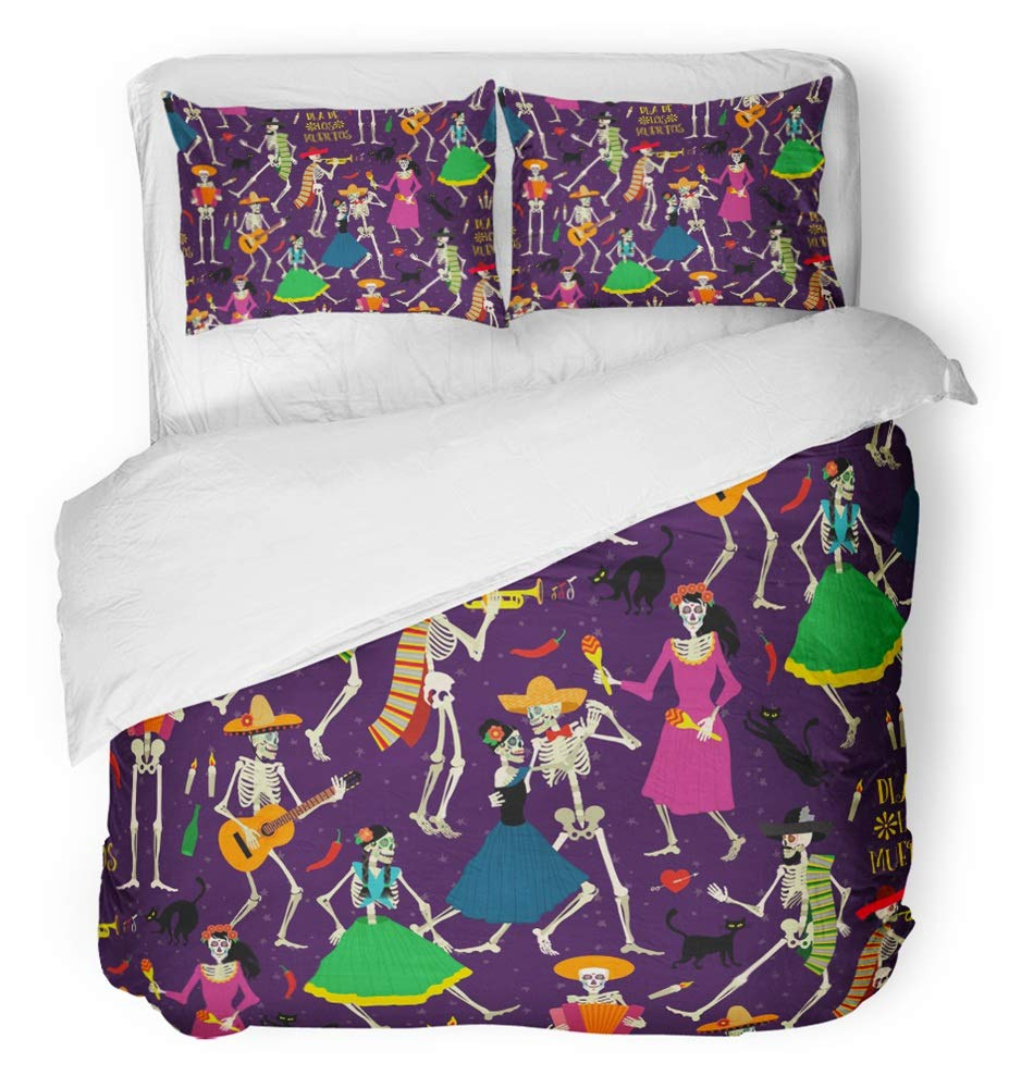 Emvency 3 Piece Duvet Cover Set Breathable Brushed Microfiber Fabric Colorful Mexican with Skeletons Dia De Los Muertos The Dance Halloween Cartoon Bedding Set with 2 Pillow Covers Twin Size