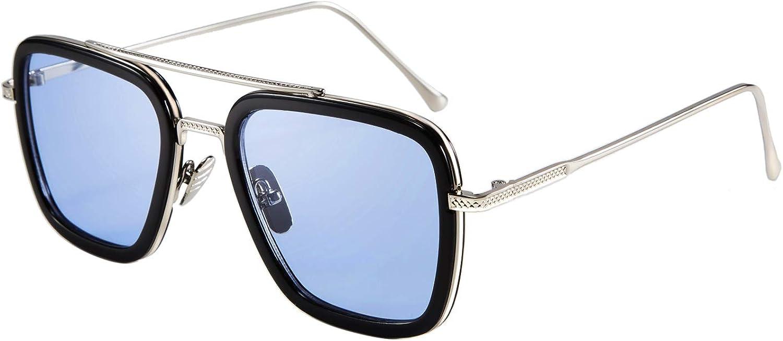 FEISEDY Retro Square Sunglasses Tony Sunglasses Trendy Gradient Lens B2510