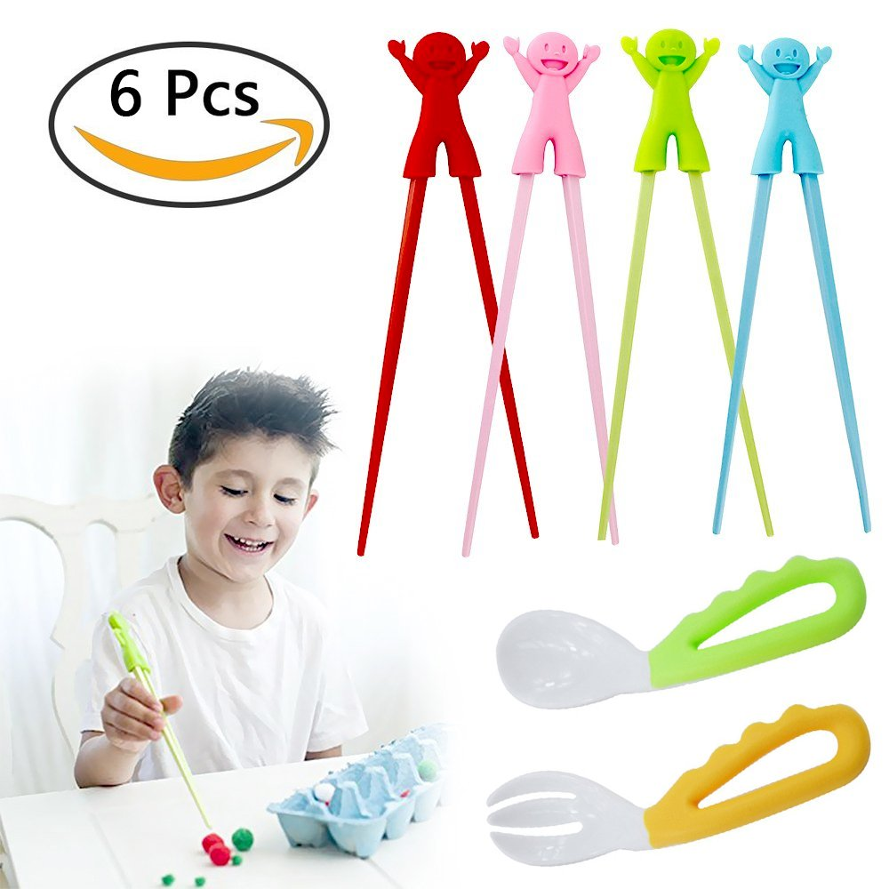 4 PCS Training Chopsticks for Kids, Beginner Chopstick Helpers Practice for Adults, Trainer Child How to use Chop Sticks, Gift for Toddler 2 PCS Safety Silicone Trainers Spoon & Fork