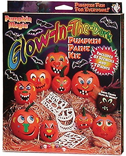 Pumpkin Magic Glow-in-the-dark Pumpkin Acrylic Paint Kit with 81 Stencils - Halloween (Halloween Pumpkin Decorating Stencils)