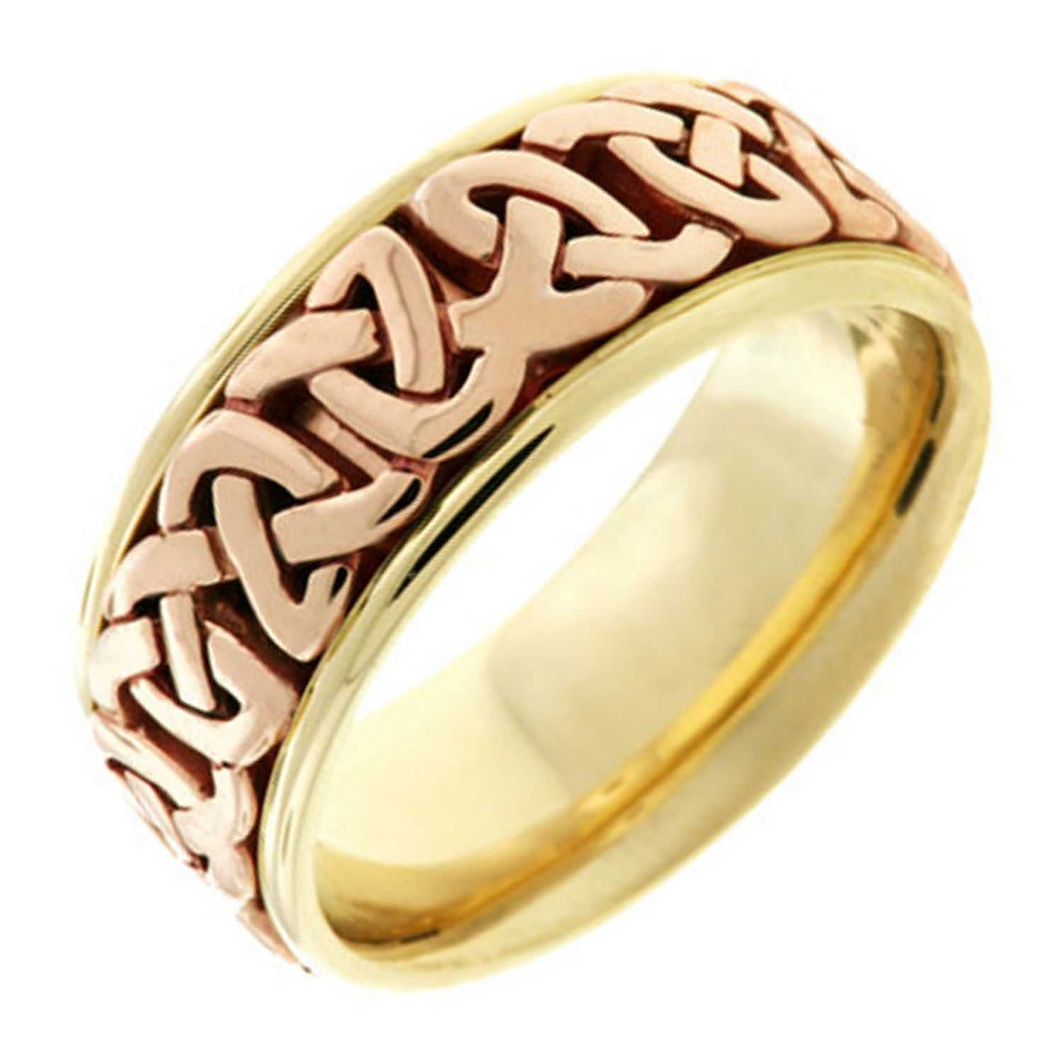 18K Two Tone Gold Celtic Love Knot Men's Comfort Fit Wedding Band (8.5mm) Size-8.5c1