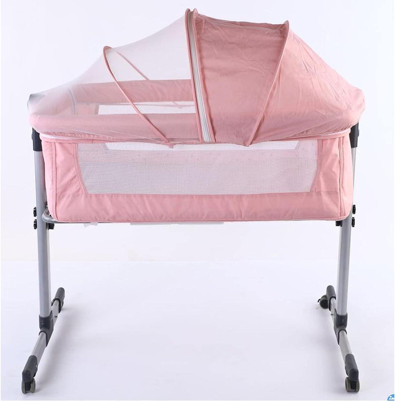 zcyg Cuna de Viaje Cama De Cuna De Bebé, Cama para Bebé Móvil Portátil Costura Plegable Cama Grande De Metal con Mosquitero Bolsa De Almacenamiento De Cesta De Almacenamiento(Color:Rosa)