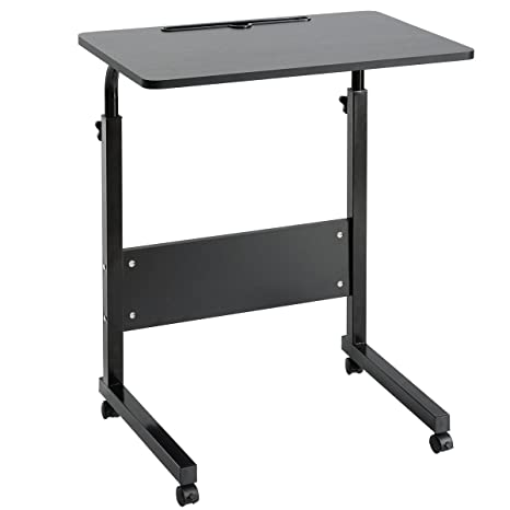 DOEWORKS Bedside Computer Table, Adjustable Laptop Stand Portable Cart Tray  Side Table, Black