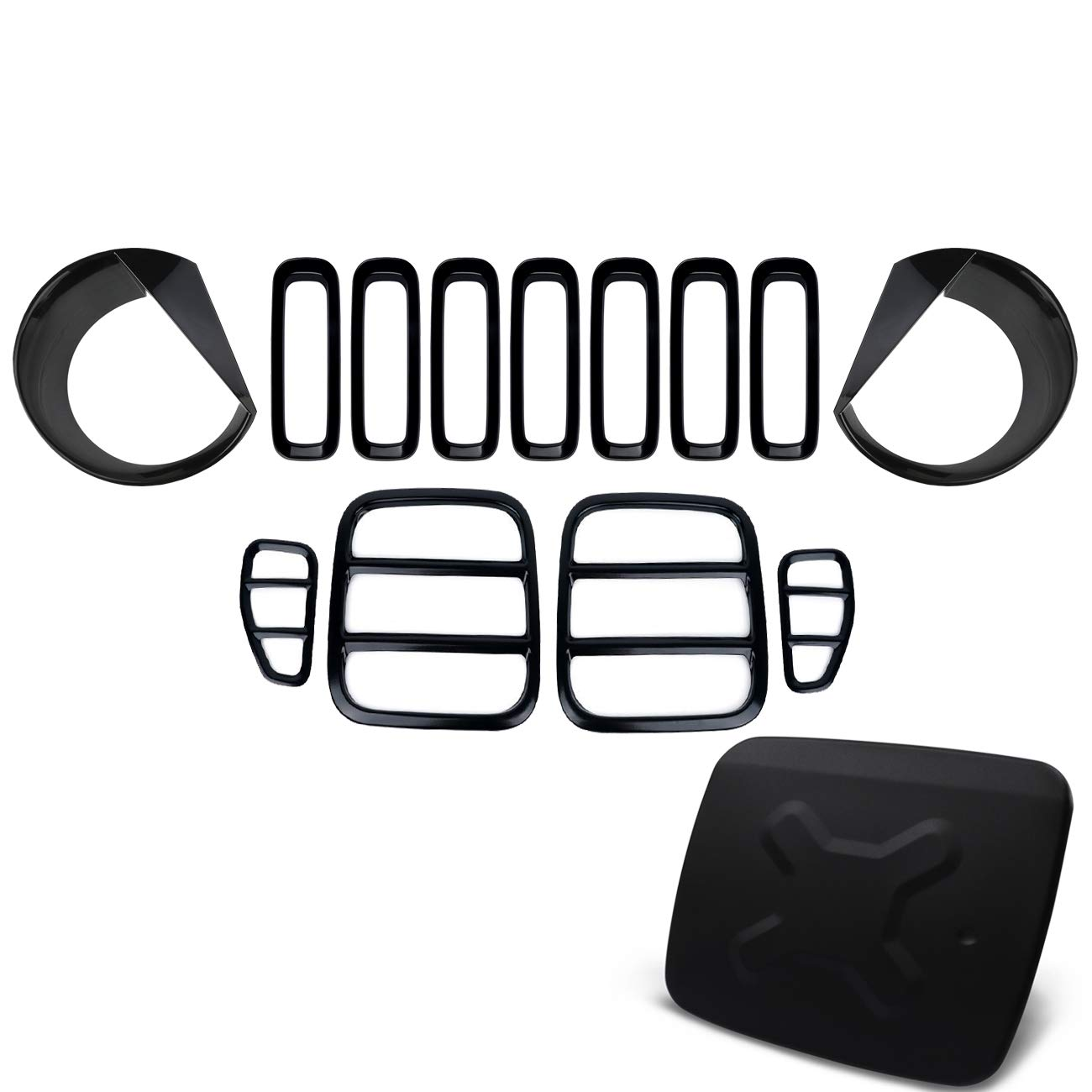 Yoursme Door Fuel Filler Cap, Front Mesh Grilles, Headlight and Taillight Covers for Jeep Renegade 2015 2016 2017 2018 - Black Exterior Trim Kit Set 14PCS