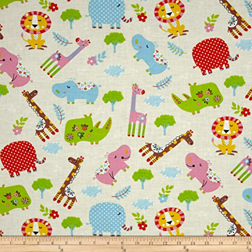 Santee Print Works Kid's Choice Animals Allover Yellow Fabric by The ()